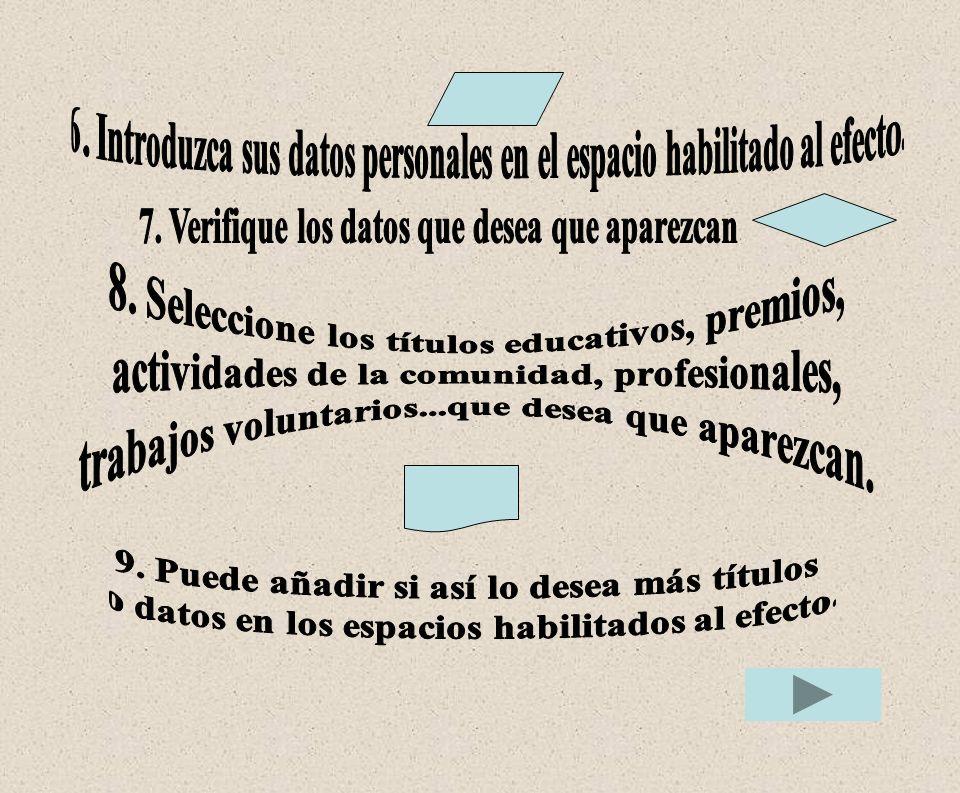6. Introduzca sus datos personales en el espacio habilitado al efecto.
