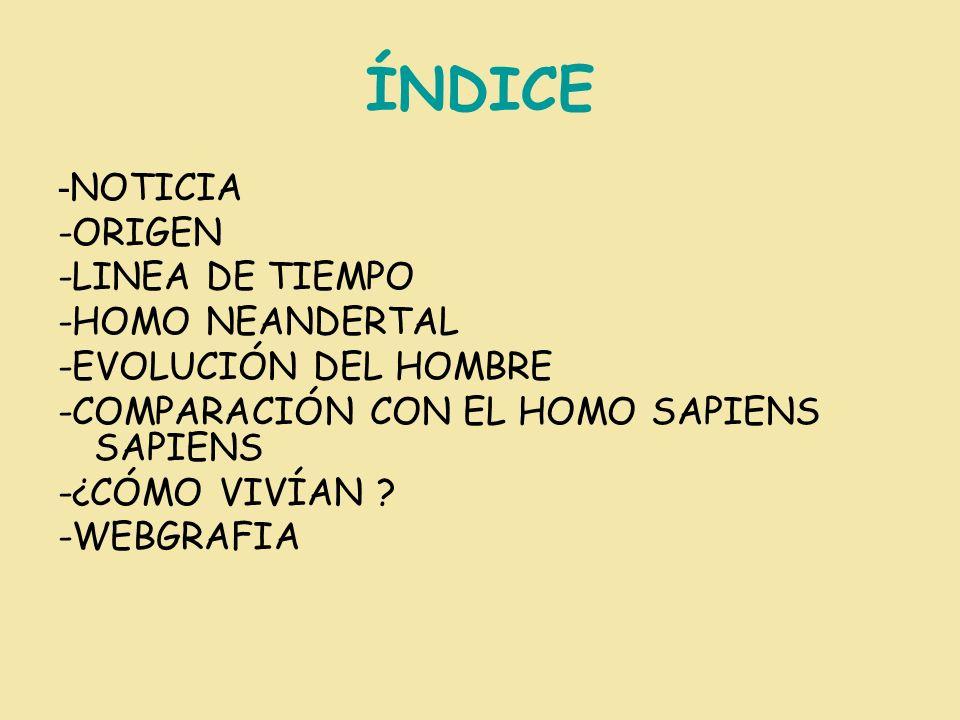ÍNDICE -NOTICIA -ORIGEN -LINEA DE TIEMPO -HOMO NEANDERTAL