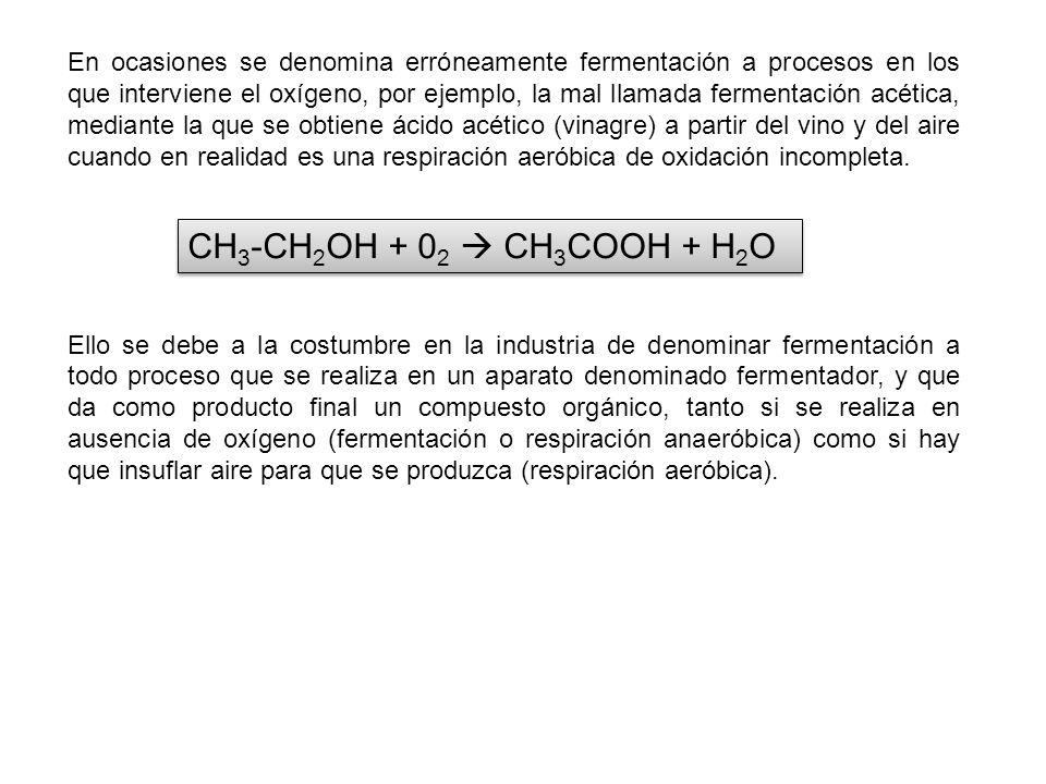 En ocasiones se denomina erróneamente fermentación a procesos en los que interviene el oxígeno, por ejemplo, la mal llamada fermentación acética, mediante la que se obtiene ácido acético (vinagre) a partir del vino y del aire cuando en realidad es una respiración aeróbica de oxidación incompleta.