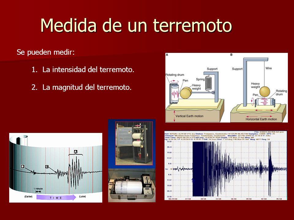Medida de un terremoto Se pueden medir: La intensidad del terremoto.