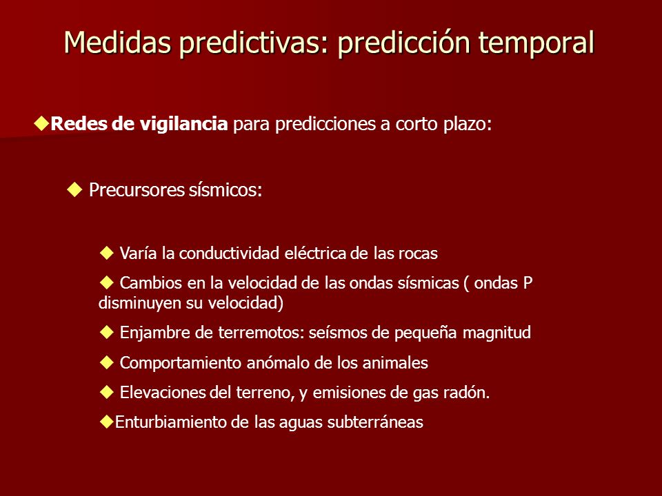 Medidas predictivas: predicción temporal