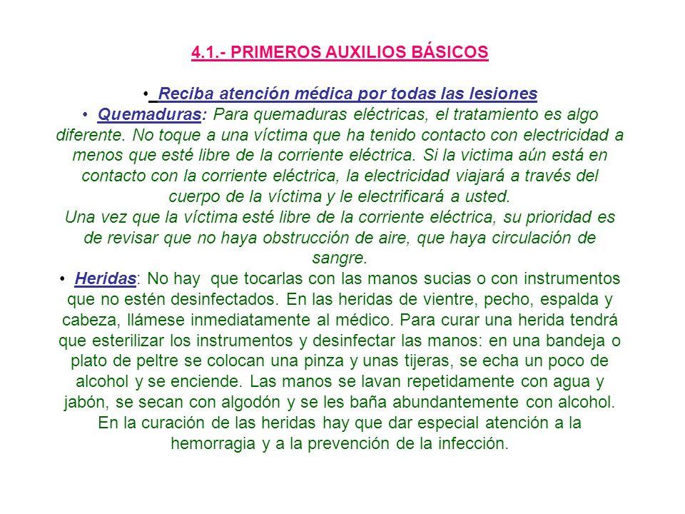 4.1.- PRIMEROS AUXILIOS BÁSICOS