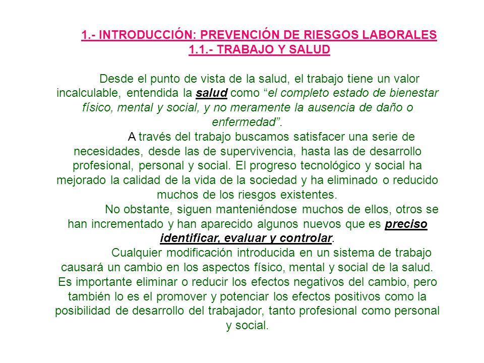 1.- INTRODUCCIÓN: PREVENCIÓN DE RIESGOS LABORALES