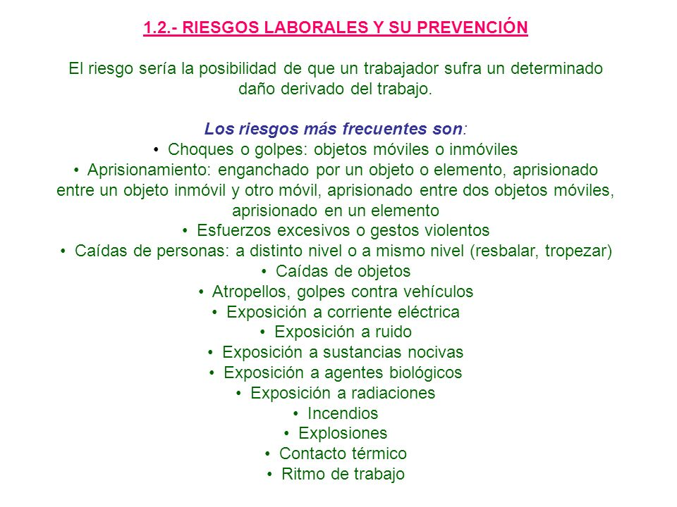 1.2.- RIESGOS LABORALES Y SU PREVENCIÓN