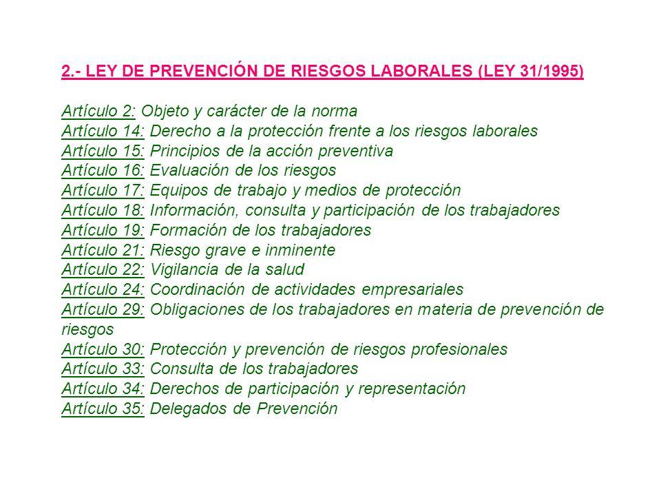 2.- LEY DE PREVENCIÓN DE RIESGOS LABORALES (LEY 31/1995)
