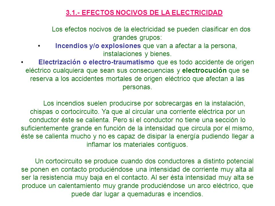 3.1.- EFECTOS NOCIVOS DE LA ELECTRICIDAD
