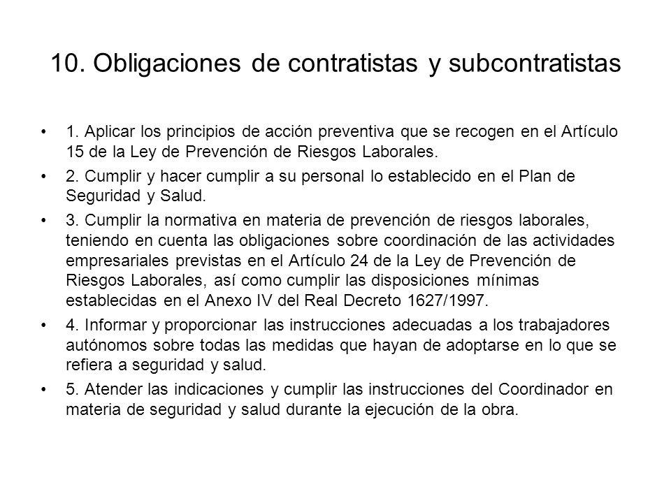 10. Obligaciones de contratistas y subcontratistas