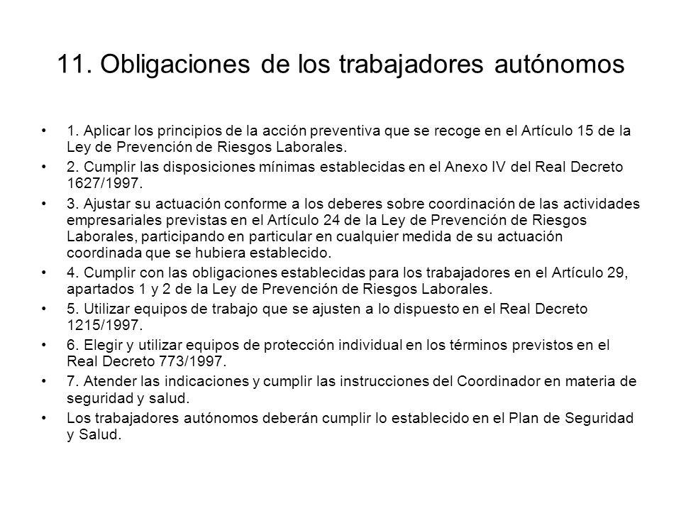 11. Obligaciones de los trabajadores autónomos
