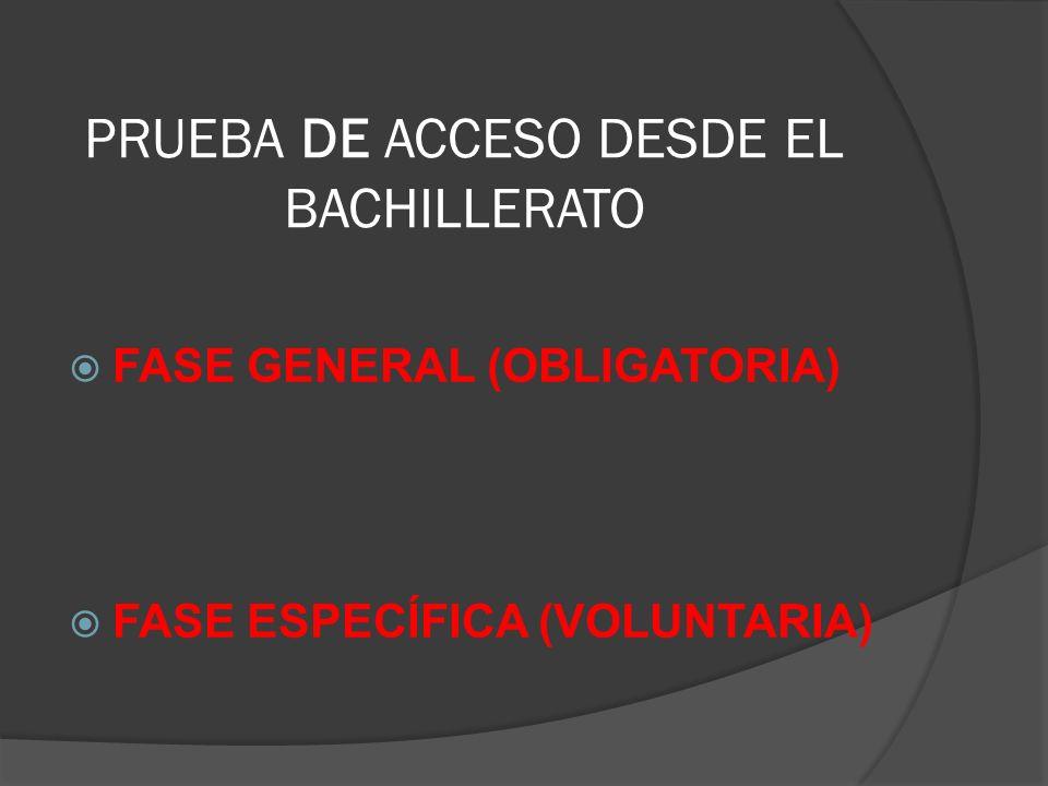 PRUEBA DE ACCESO DESDE EL BACHILLERATO