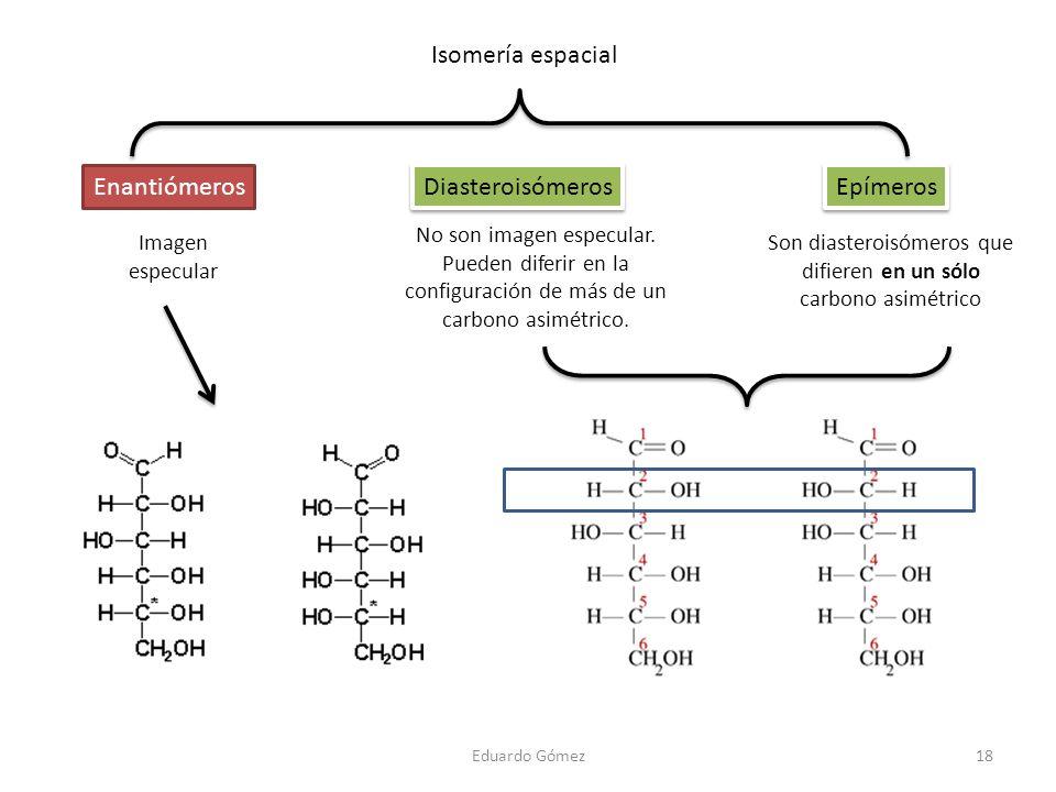 Isomería espacial Enantiómeros Diasteroisómeros Epímeros