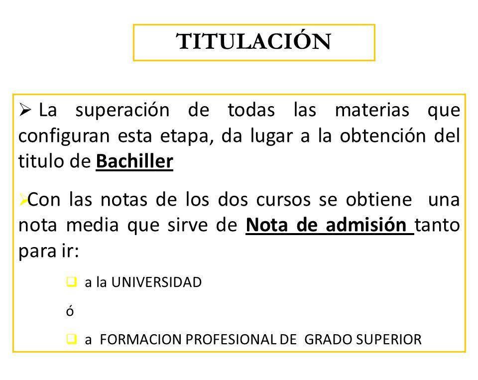 TITULACIÓN La superación de todas las materias que configuran esta etapa, da lugar a la obtención del titulo de Bachiller.