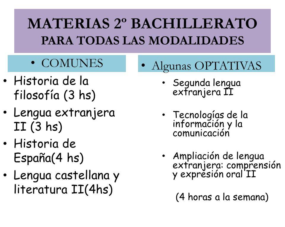 MATERIAS 2º BACHILLERATO PARA TODAS LAS MODALIDADES