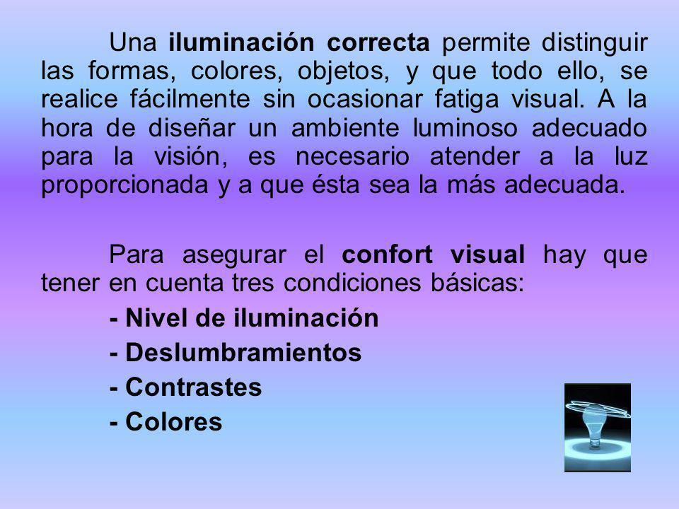 Una iluminación correcta permite distinguir las formas, colores, objetos, y que todo ello, se realice fácilmente sin ocasionar fatiga visual. A la hora de diseñar un ambiente luminoso adecuado para la visión, es necesario atender a la luz proporcionada y a que ésta sea la más adecuada.