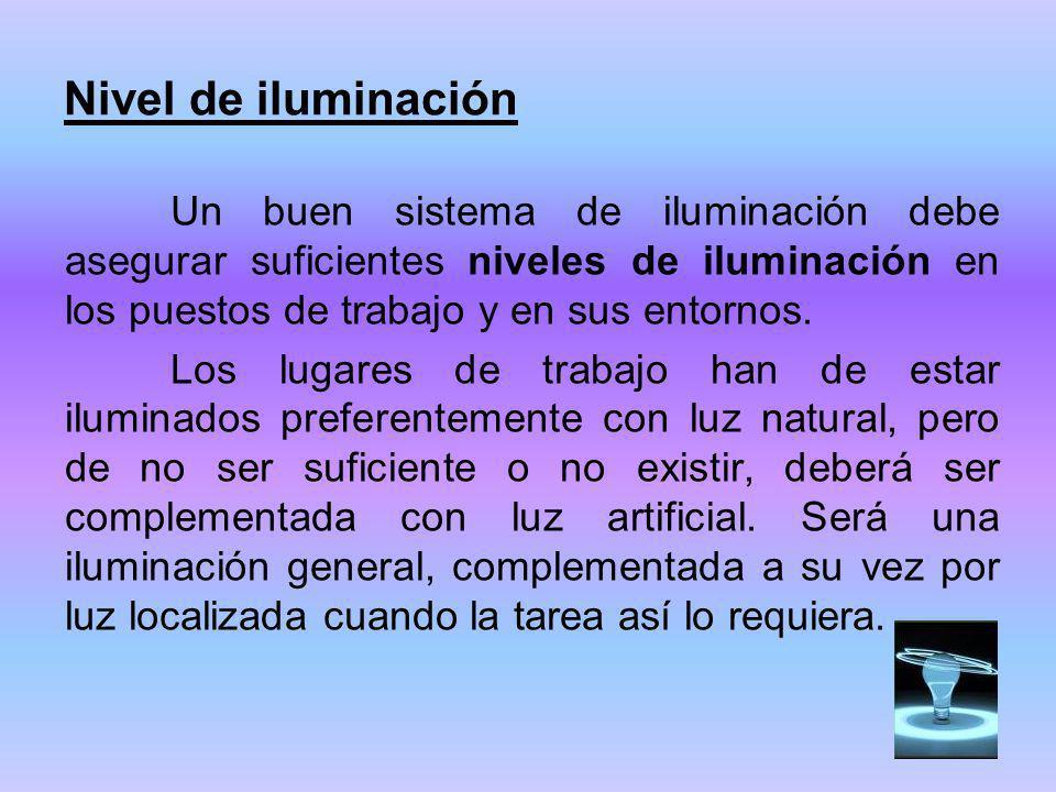 Nivel de iluminación Un buen sistema de iluminación debe asegurar suficientes niveles de iluminación en los puestos de trabajo y en sus entornos.