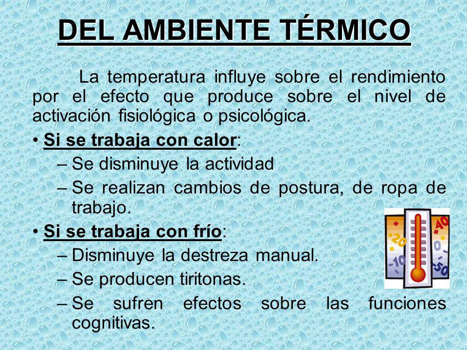 DEL AMBIENTE TÉRMICO Si se trabaja con calor: