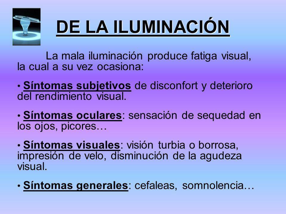DE LA ILUMINACIÓN La mala iluminación produce fatiga visual, la cual a su vez ocasiona: