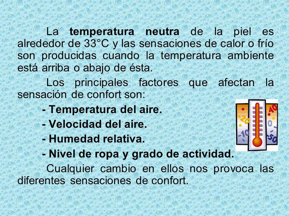 La temperatura neutra de la piel es alrededor de 33°C y las sensaciones de calor o frío son producidas cuando la temperatura ambiente está arriba o abajo de ésta.