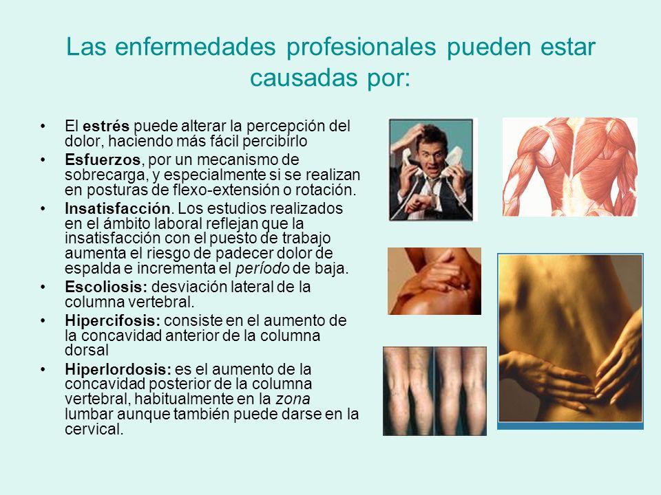 Las enfermedades profesionales pueden estar causadas por: