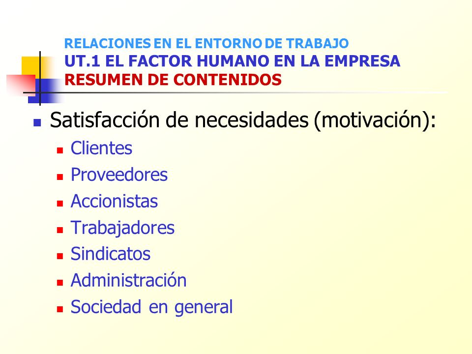Satisfacción de necesidades (motivación):