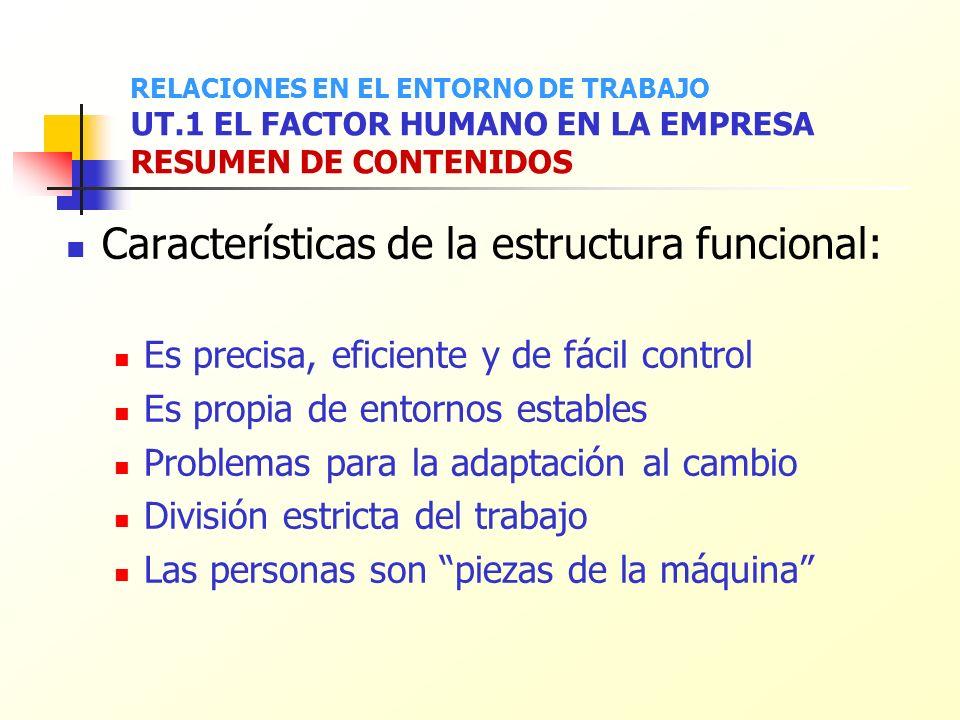 Características de la estructura funcional: