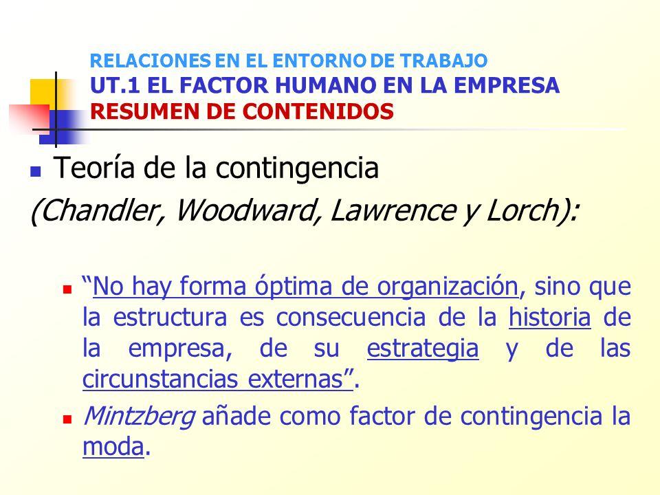 Teoría de la contingencia (Chandler, Woodward, Lawrence y Lorch):