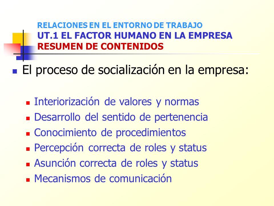 El proceso de socialización en la empresa: