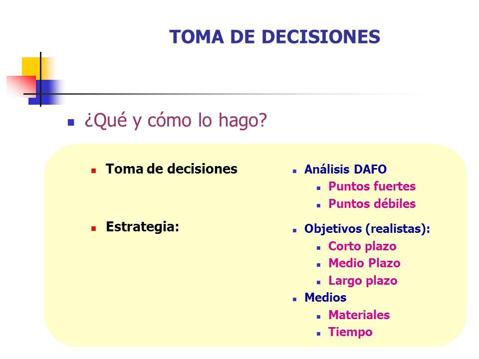 TOMA DE DECISIONES ¿Qué y cómo lo hago Toma de decisiones Estrategia: