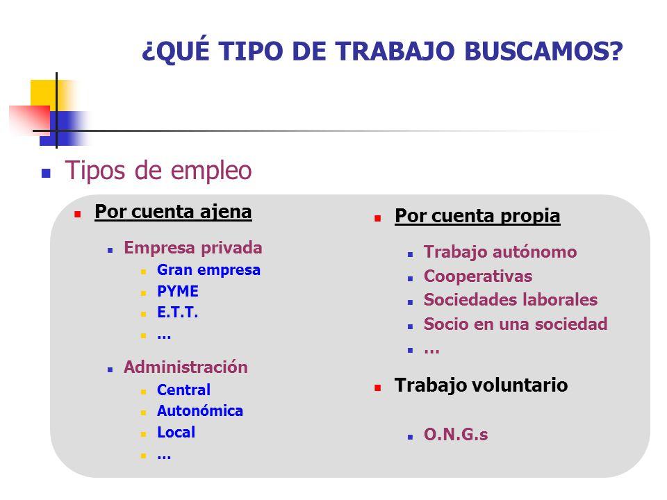 ¿QUÉ TIPO DE TRABAJO BUSCAMOS