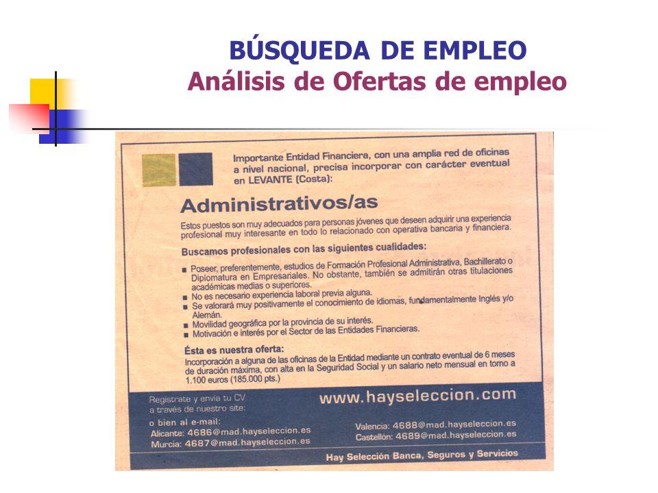 BÚSQUEDA DE EMPLEO Análisis de Ofertas de empleo
