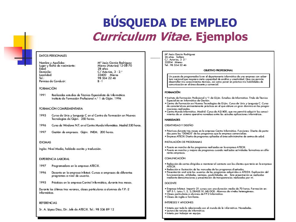 BÚSQUEDA DE EMPLEO Curriculum Vitae. Ejemplos