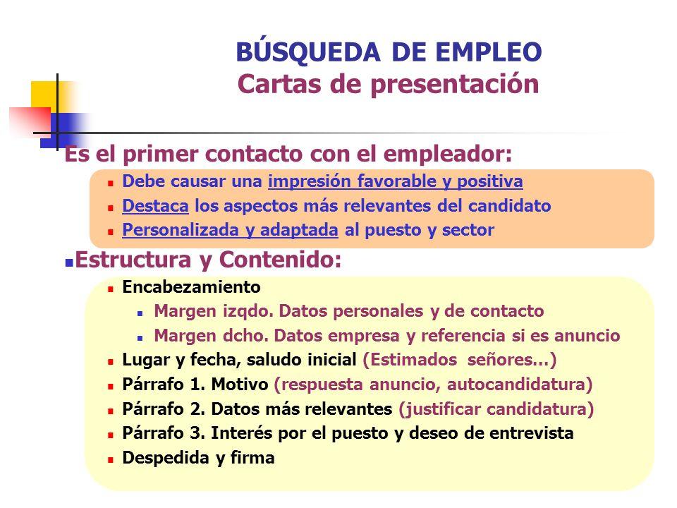 BÚSQUEDA DE EMPLEO Cartas de presentación