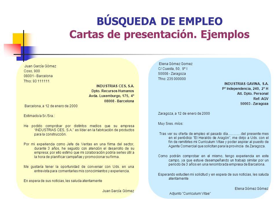 BÚSQUEDA DE EMPLEO Cartas de presentación. Ejemplos