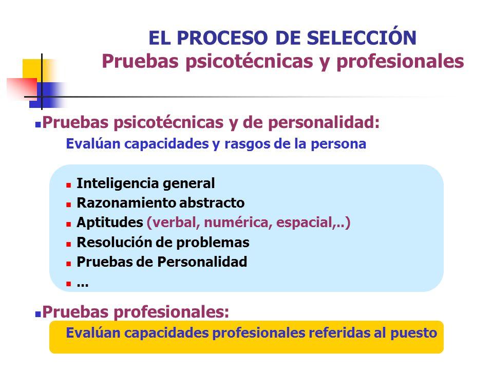 EL PROCESO DE SELECCIÓN Pruebas psicotécnicas y profesionales