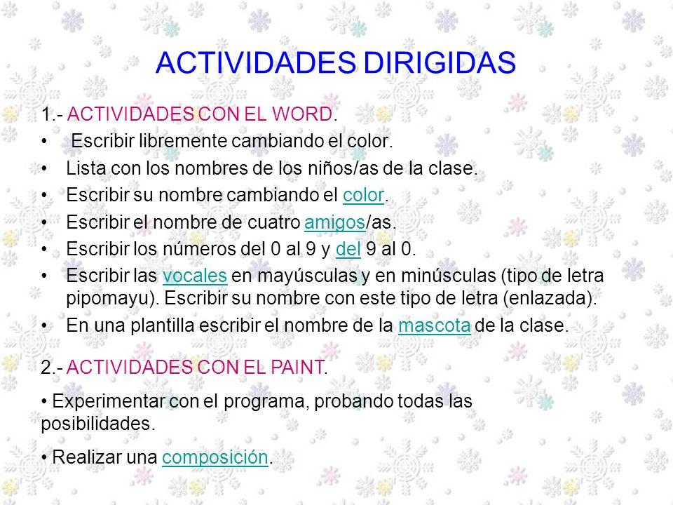 ACTIVIDADES DIRIGIDAS