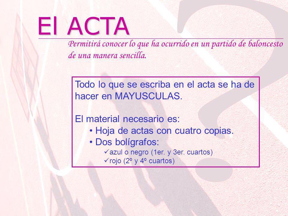 El ACTA Permitirá conocer lo que ha ocurrido en un partido de baloncesto de una manera sencilla.