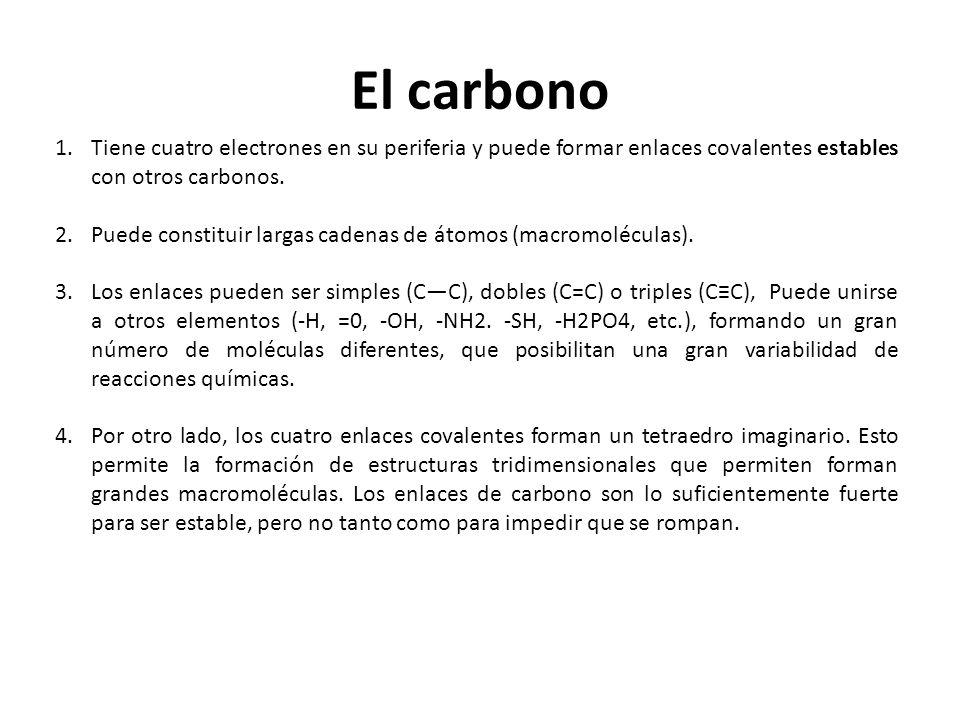 El carbono Tiene cuatro electrones en su periferia y puede formar enlaces covalentes estables con otros carbonos.