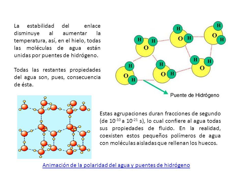 La estabilidad del enlace disminuye al aumentar la temperatura, así, en el hielo, todas las moléculas de agua están unidas por puentes de hidrógeno.