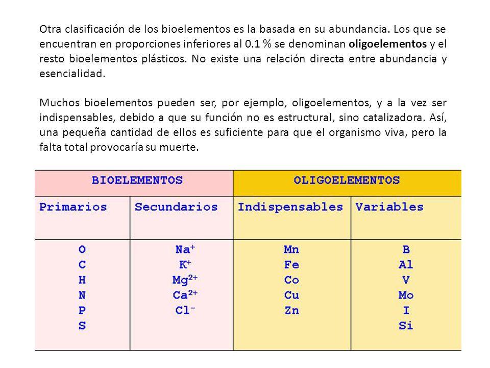 Otra clasificación de los bioelementos es la basada en su abundancia