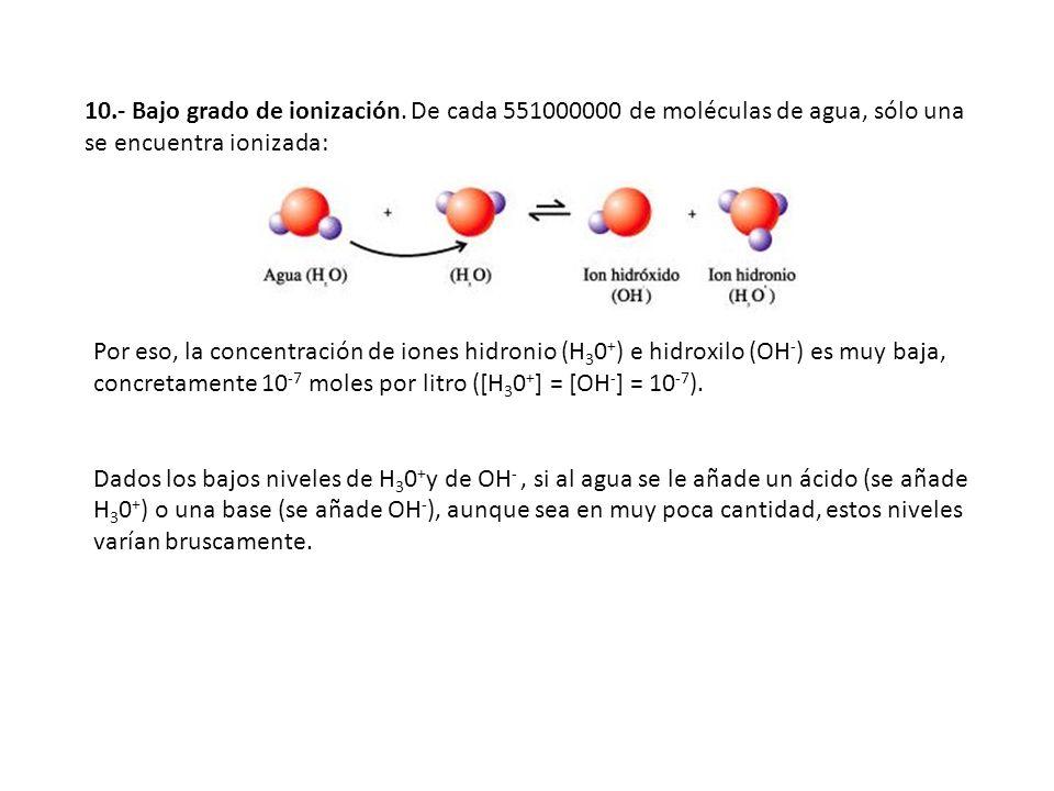 10.- Bajo grado de ionización. De cada 551000000 de moléculas de agua, sólo una se encuentra ionizada: