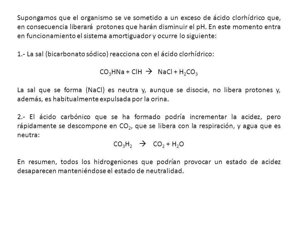 Supongamos que el organismo se ve sometido a un exceso de ácido clorhídrico que, en consecuencia liberará protones que harán disminuir el pH. En este momento entra en funcionamiento el sistema amortiguador y ocurre lo siguiente: