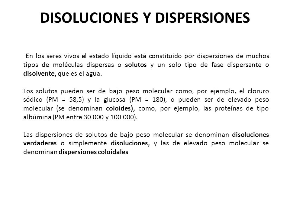 DISOLUCIONES Y DISPERSIONES