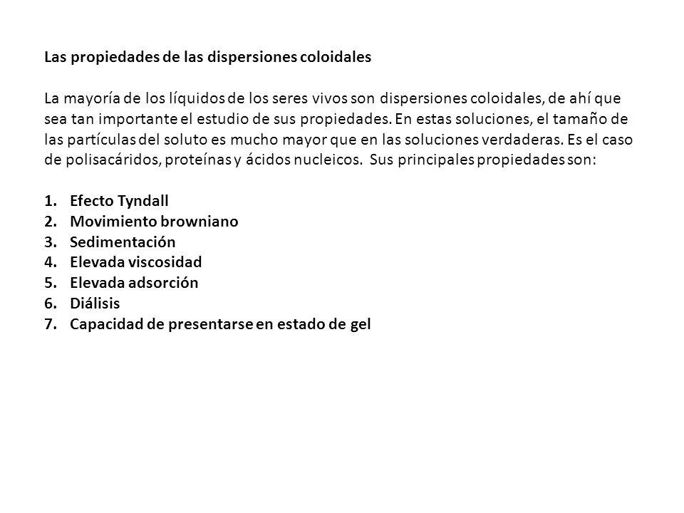 Las propiedades de las dispersiones coloidales