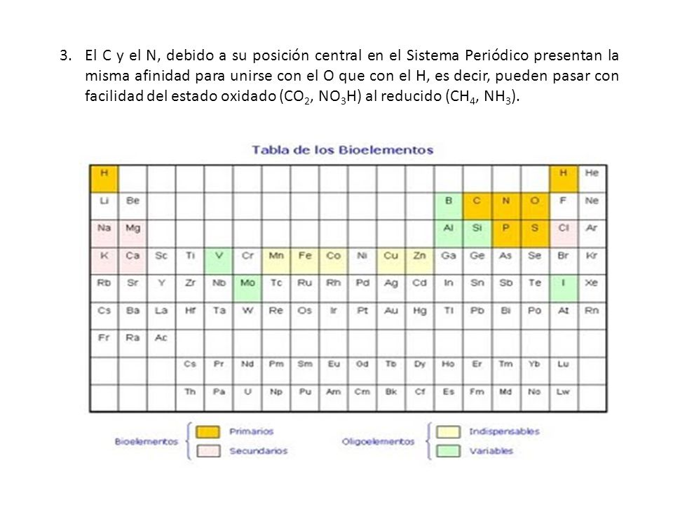 El C y el N, debido a su posición central en el Sistema Periódico presentan la misma afinidad para unirse con el O que con el H, es decir, pueden pasar con facilidad del estado oxidado (CO2, NO3H) al reducido (CH4, NH3).