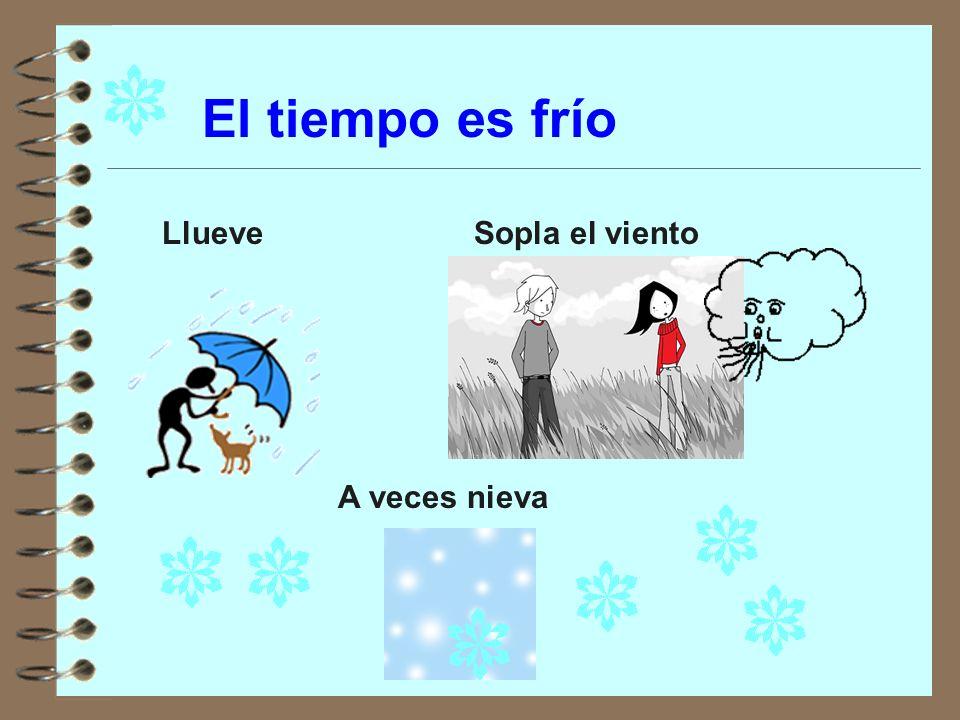 El tiempo es frío Llueve Sopla el viento A veces nieva