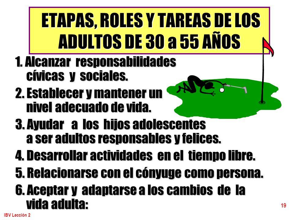 ETAPAS, ROLES Y TAREAS DE LOS ADULTOS DE 30 a 55 AÑOS