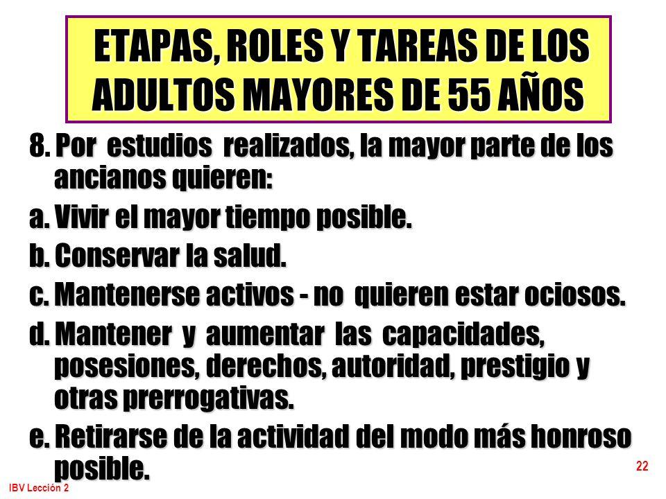 ETAPAS, ROLES Y TAREAS DE LOS ADULTOS MAYORES DE 55 AÑOS
