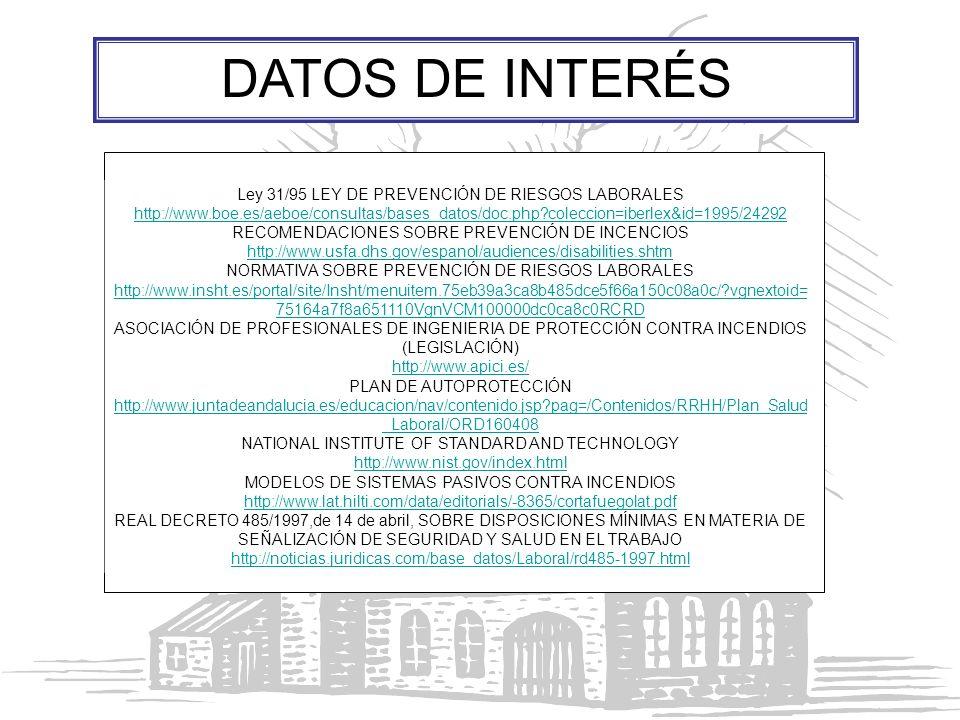DATOS DE INTERÉS Ley 31/95 LEY DE PREVENCIÓN DE RIESGOS LABORALES