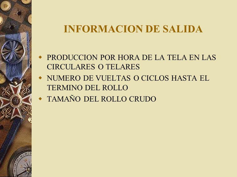 INFORMACION DE SALIDAPRODUCCION POR HORA DE LA TELA EN LAS CIRCULARES O TELARES. NUMERO DE VUELTAS O CICLOS HASTA EL TERMINO DEL ROLLO.