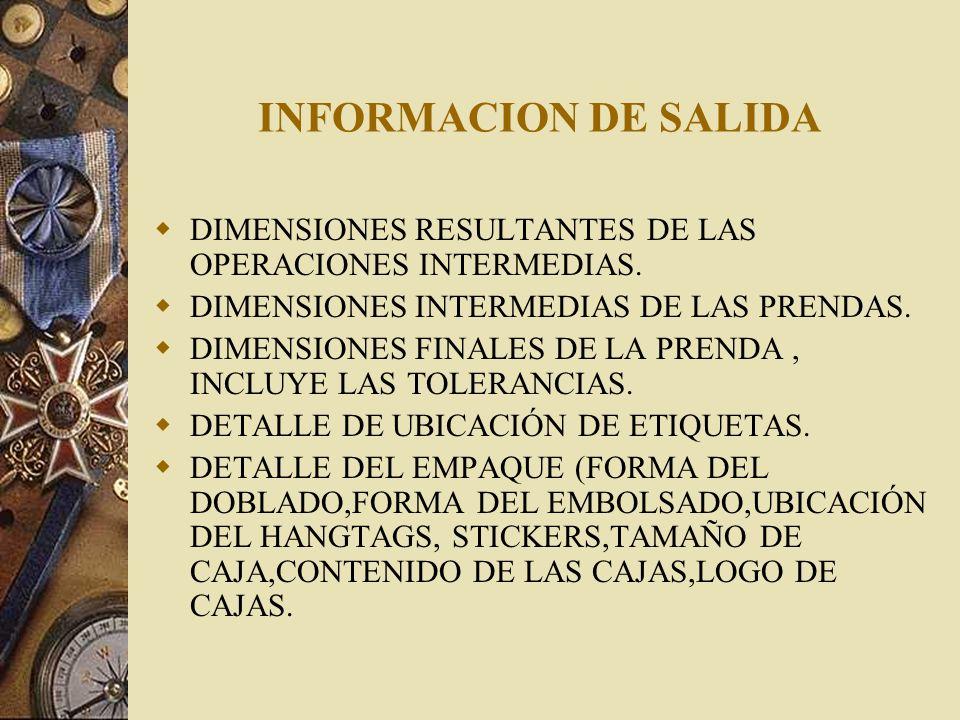 INFORMACION DE SALIDADIMENSIONES RESULTANTES DE LAS OPERACIONES INTERMEDIAS. DIMENSIONES INTERMEDIAS DE LAS PRENDAS.