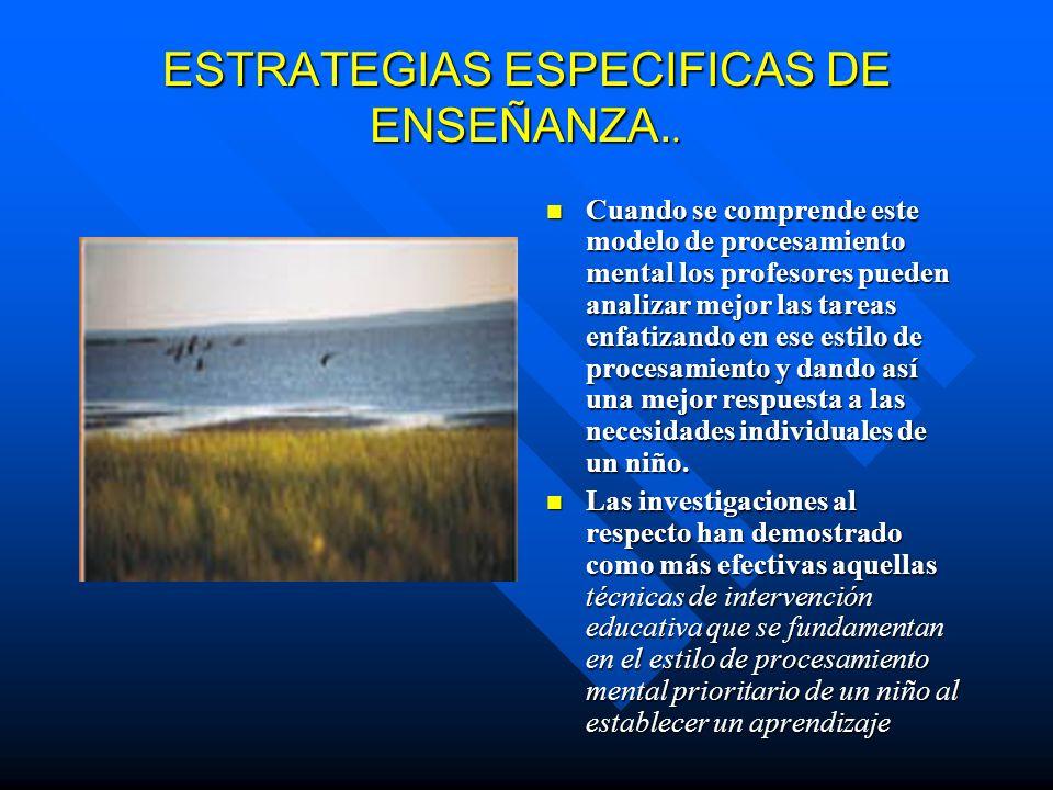 ESTRATEGIAS ESPECIFICAS DE ENSEÑANZA..